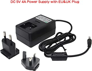 Geekworm DC 5V 4A Power Adapter with EU and UK Plug (DC5.5x2.5mm) for Raspberry Pi X825/X828/X820/X735/X750/X725/X705 Expansion Board & T100/T200/T300 Expansion Board