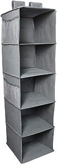 iGadgitz Home U7150 Étagère Suspendue Pliable en (5 étagères), Rangement Vetement, Wardrobe Organizer -Gris
