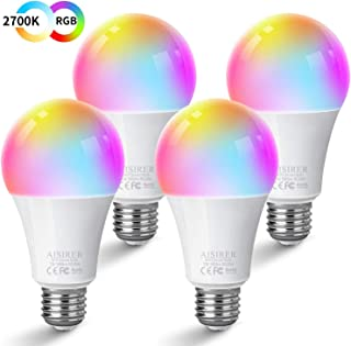 AISIRER Smart Light Bulb,Soft White 2700K+RGB WiFi LED Color Changing Bulb Compatible with Amazon Alexa Echo Google Home Assistant and IFTTT Multicolor Dimmable No Hub Required E26 7W 580LM A19 4 Pack