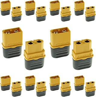 Amass 10 Pairs XT60H Bullet Connector Plug Upgrated XT60 Sheath Female & Male Gold Plated RC Parts XT60H