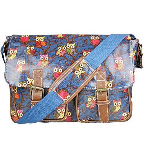 Satchel Oilcloth owl printed Cross Body Shoulder Messenger Bags for Ladies, (Owl Navy)
