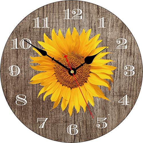 TAHEAT Clásico Girasol Reloj de Pared, Retro Rústico Floral Silencio Sin tictac Relojes Decorativo Fácil de Leer para Cocina Sala de Estar Cuarto Baño, 34 cm