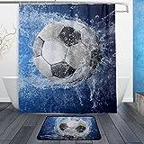 alaza Set von 2 Sport-Duschvorhängen & Matten-Set mit Fußball-Motiv, wasserdicht, Stoff, Badezimmer-Vorhang & -Vorleger mit Haken Multicolor 1