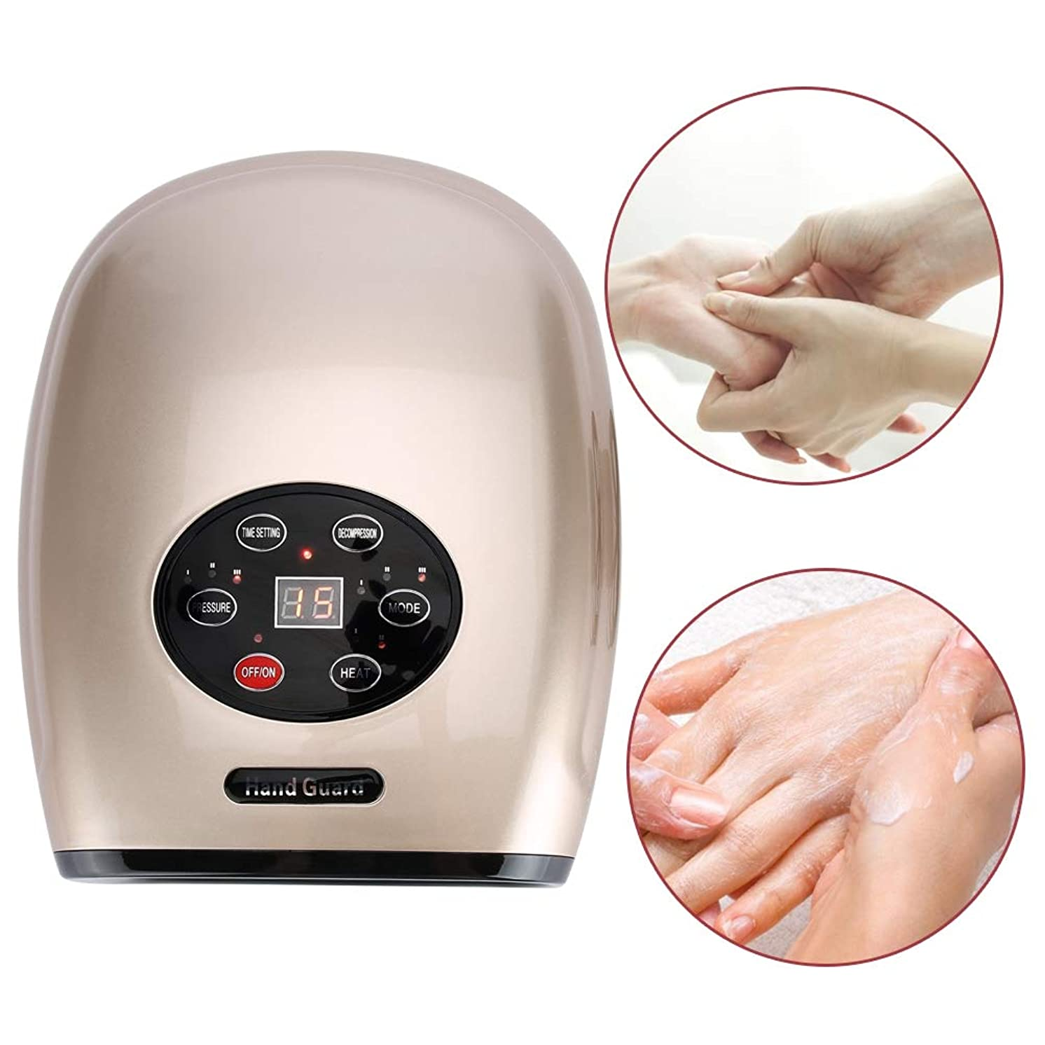 電気指圧手のひらマッサージ、指の寒さひずみとしびれリリーフフィンガーアポイントマッサージリリーフハンドケアツール(Gold US Plug)
