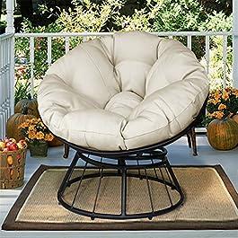 Deluxe rotative à 360 ° Papasan Chaise avec coussin moelleux, extérieur Patio pivotant planeur à bascule Fauteuil lounge…