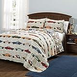 Lush Décor Lush Decor Beige Race Car Kids' 2-Piece Quilt, Reversible Bedding Set for Boys (Twin), White