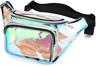 Holographic Fanny Pack for Women, Waterproof Waist Bag with Adjustable Belt for Festival, Party Travel (Clear-Iridescent)
