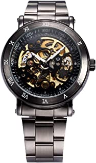 AMPM24 Men's Skeleton Black Dial Automatic Mechanical Dark Silver Steel Wrist Watch Gift PMW210