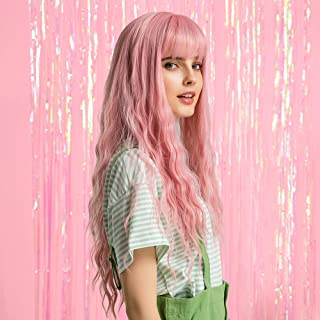 HAIRCUBE Fashion Pink Wig Long Wavy Wig With Air Bangs Silky Full Heat Resistant Synthetic Wig for Women Natural Looking 24 inch Wig for Party Cosplay Body Wavy