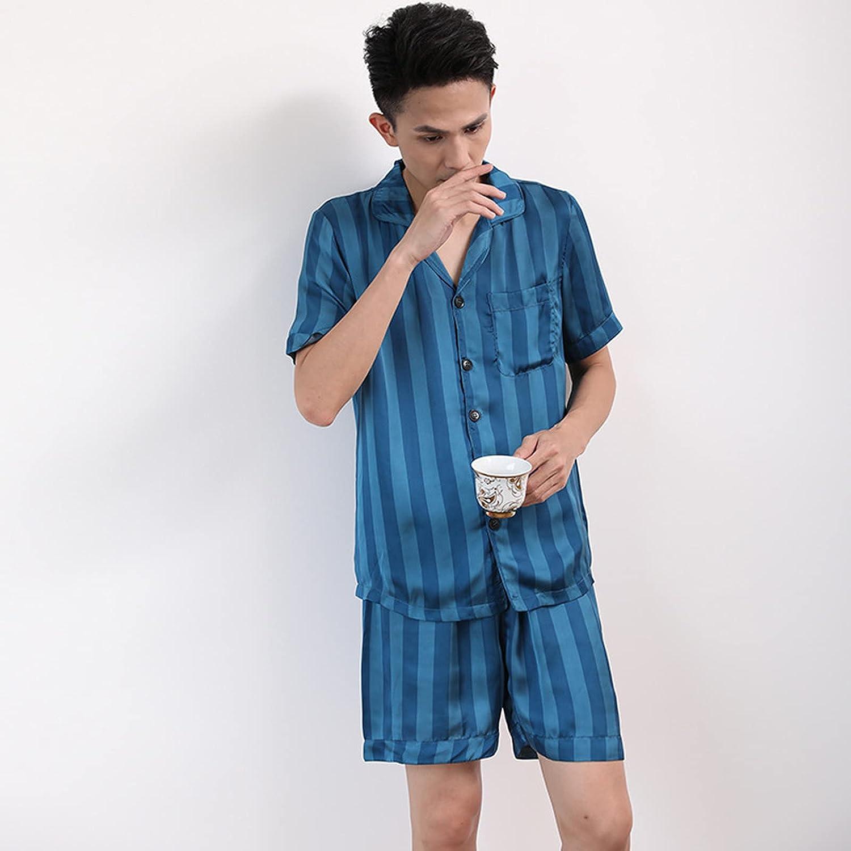 Summer Men Short Pajamas Sets Summer Short-Sleeved Pyjamas Silk Satin Homewear Suit Soft Nightwear Sleepwear,Blue,XL