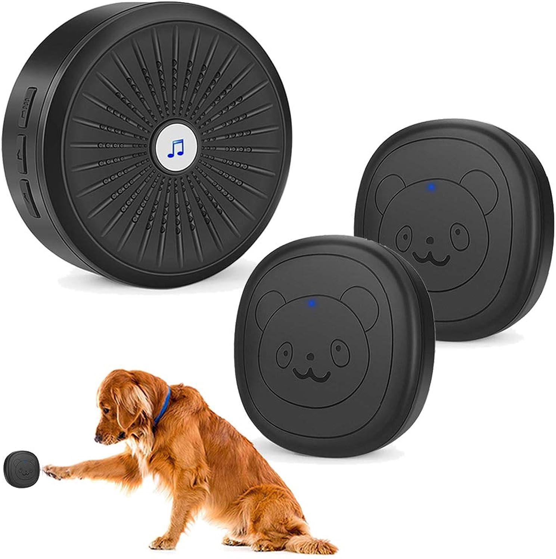 CallToU Dog Door Bell for Potty Training Wireless Touch Door Bell IP55 Waterproof 1 Receiver 2 Transmitter(Black)