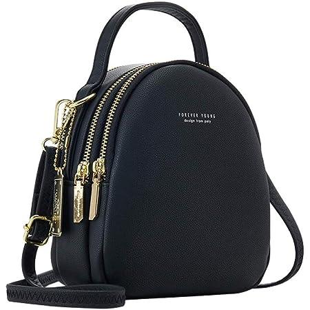 Katech Mode Rucksack Damen Kleine Handy Schultertasche Lederrucksack Frauen Klein Handtasche Mini Casual Daypacks für Party/Reisen/Arbeit (Schwarz)