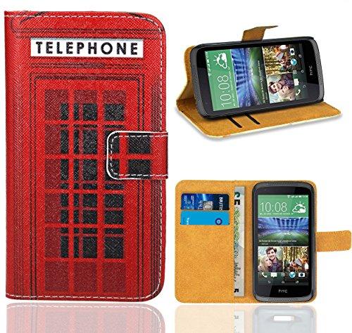 FoneExpert® HTC Desire 526 526G Handy Tasche, Wallet Case Flip Cover Hüllen Etui Ledertasche Lederhülle Premium Schutzhülle für HTC Desire 526 526G