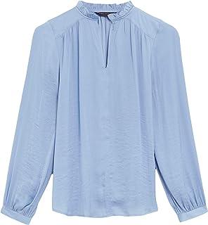 Marks & Spencer Women's Washed Satin Frill Neck Popover Blouse, BLUE