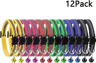 KZHAREEN 12 Pcs Reflective Nylon Breakaway Cat Collars Bell Adjustable Small Pet Dog Puppies