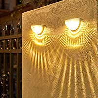 LEDソーラーウォールランプライト2ピース1ピース水滴影屋外ガーデン階段装飾的な照明防水暖かい冷たい白-暖かい白_2個