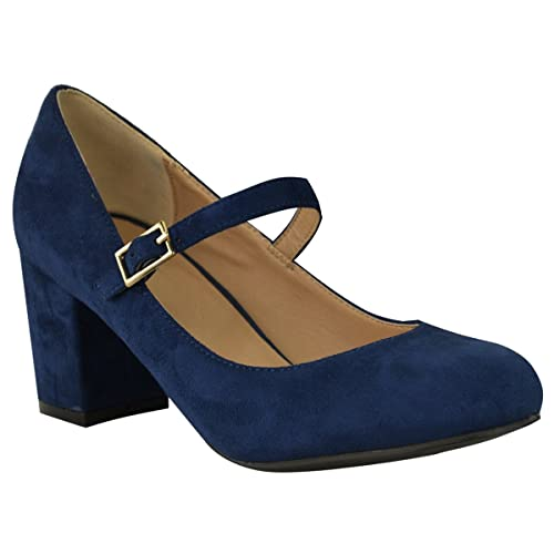Womens Ladies Mid Block Heel Shoes Pumps Formal Work Office Court Shoe All Size