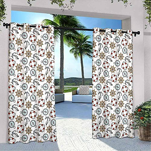 Brújula - Cortinas impermeables para interiores y exteriores, para patio, boya salvavidas y ancla, diseño marino, para dormitorio, sala de estar, porche, pérgola, 120 x 72 pulgadas