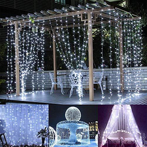 BLOOMWIN Tenda Luminosa 8 modalità + Funzione Timer con Telecomando 600 LED 6m * 3m 6V a Bassa Tensione Luci Stringa con Ganci per Interno Esterno Natale Finestra Giardino Bianco