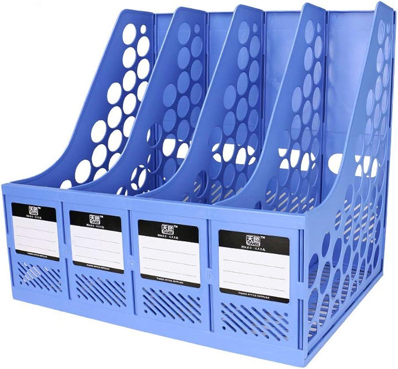 Yxsd Super Thick Thick Thick 4-Teiler-Trennwand Datei Dokumentenablage Home-Office-Desktop-Bücherregal aus Kunststoff (Farbe   Blau) B07PZ68NYW | Exquisite Handwerkskunst  3e4c8f