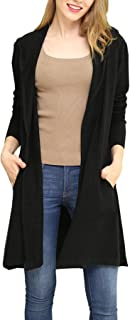 Women Hooded Cardigan Sweater Drape Open Front Asym with Pockets