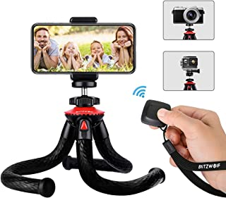Tripod for Phone & Camera, BlitzWolf Flexible Tripod with Bluetooth Remote & Phone Holder for iPhone Android, Waterproof Tripod with 1/4'' Screw & Adapter for Action Camera, DSLR, 360 Camera