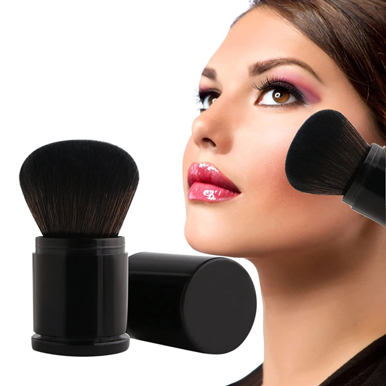 Yumbyss - 1PCSミニソフトメイクブラシリトラクタブルプロ財団化粧ブラッシャーフェイスパウダーブラシ美容ツールキットブラックホワイト[ブラック]