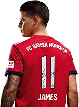 FC Bayern Munich Home Jersey Shirt with Flock Signature 18/19, Men, James Rodriguez, L