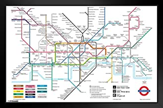 Pyramid America London Underground Map Black Wood Framed Art Poster 20x14