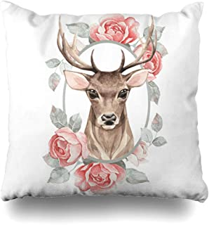 Ahawoso Decorative Throw Pillow Cover Flowers Red Antlers Noble Deer Roses Watercolor Artistic Christmas Color Cute Design Home Decor Pillowcase Square Size 16