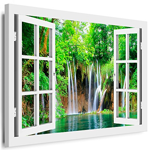 BOIKAL XXL108-4 Fensterblick Leinwand bild 3D Illusion - Fertig Gerahmte Bilder kein Poster - Wandbild 80 x 70 cm Weiß - Farbe Große 21 Variante wählbar - Fenster Kunstdruck Landschaft Wasserfall im grünen Wald