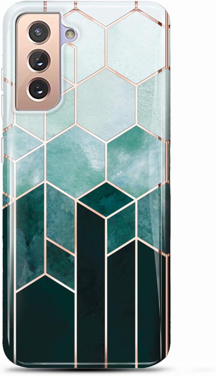 LUOLNH Galaxy S21 Case,Samsung Galaxy S21 Case Marble Brilliant Cute Design Shockproof Flexible Soft Silicone Rubber TPU Bumper Cover Skin Phone Case for Samsung S21 5G-Geometric Green Lattice