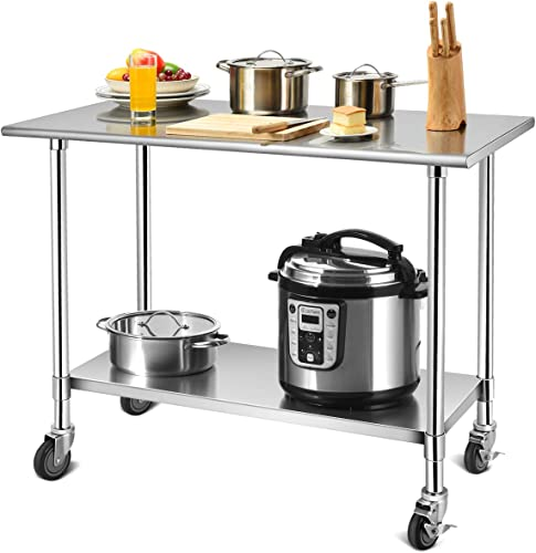 high quality Giantex 48 × 24 Inches Stainless online sale Steel Work Table, Metal Table with 4 Caster Heels,Adjustable Lower Shelf, Commercial Kitchen Food Prep Table for lowest Kitchen Restaurant sale