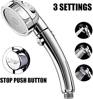 Marbrasse High Pressure Shower Head, 3-Settings Handheld Showerhead with ON/Off Full Shutoff Push Button and Switch to Control Flow, Angle-Adjustable Water Saving Body Sprays(Chrome)