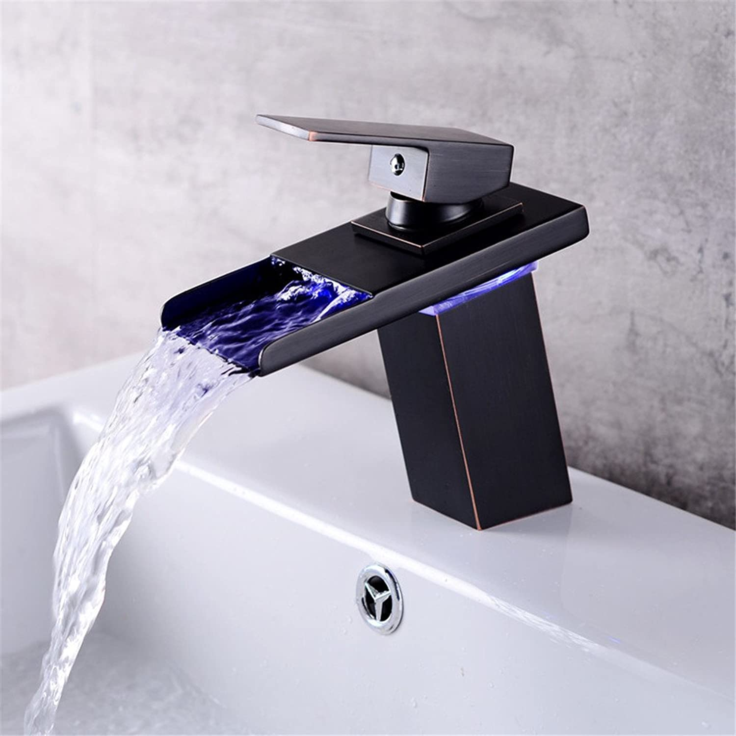 Bijjaladeva Antique Bathroom Sink Vessel Faucet Basin Mixer Tap Hot and cold water basin basin mixer basin waterfall light-emitting LED faucet Black Battery Version
