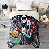 DECMAY Nightmare Before Christmas Throw Blanket Flannel Fleece Bedding Blankets 60x80 Inches Halloween Pumpkin Fan Art Gift Blanket for Bed Couch Chair Super Soft