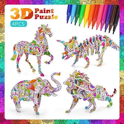 SUNNYPIG Mädchen Geschenk für 4-6 Jahre alt, Kinder Kunst und Bastelspielzeug für 5-8 Jahre alte Jungen Mädchen Geburtstagsgeschenk 3D Puzzle Art Supplies Alter 6 7 8 9 10 Mädchen Kinder