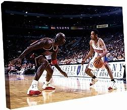 YL-Culture Allen Iverson vs Michael Jordan 76ers NBA Basketball 20x16 Framed Canvas Print