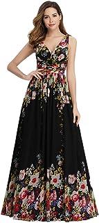 A-línea Largo Vestido de Fiesta Corte Imperio Cuello en V sin Mangas para Mujer 09016
