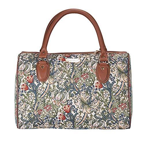 Signare Tapisserie Reisetasche Damen, Sporttasche Damen, Weekender Damen, Reisetasche groß mit William Morris Designs (Goldene Lilie)