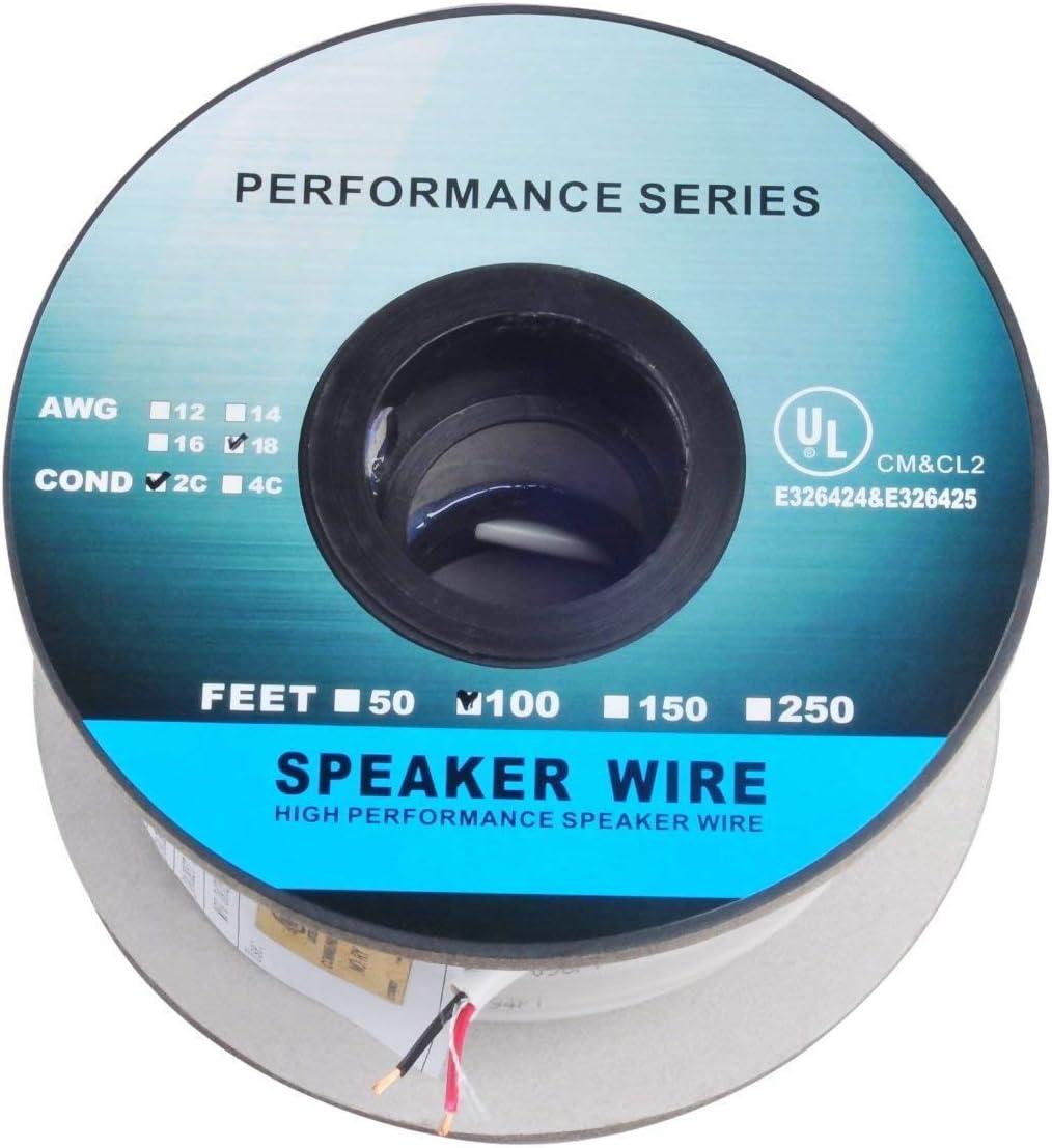 100ft 30m Pro Series 18 Gauge Store Fe Speaker 100 unisex 2-Conductor Wire