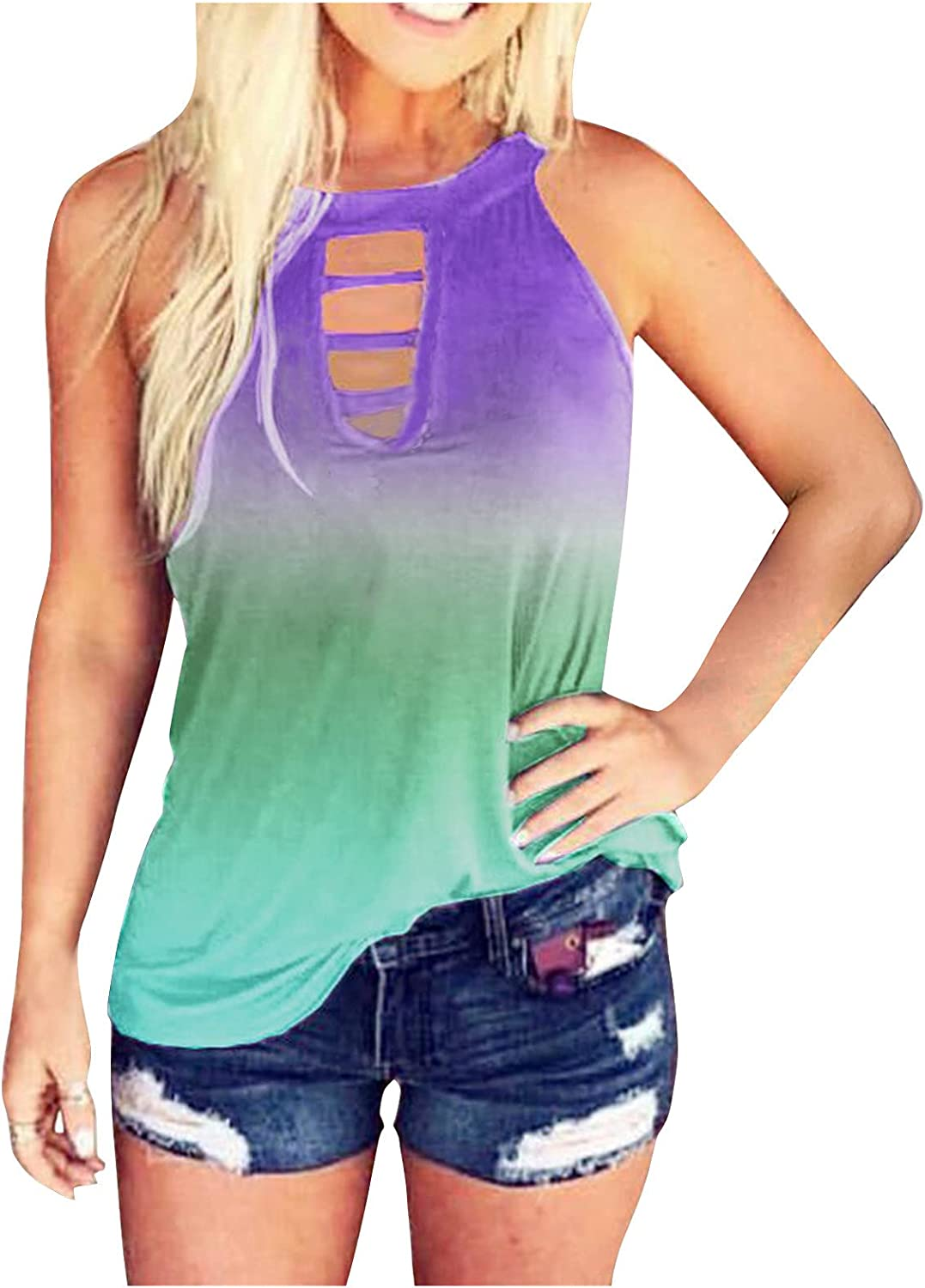 POLLYANNA KEONG Womens Tank Tops Loose Fit,Womens Casual Sleeveless Loose Fit Cut Out Back Tank Tees Shirts Vest