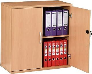 Certeo Armoire de bureau en bois 1 étagère - Hauteur 816 mm - Hêtre - Karbon - Armoire de rangement Armoire de classement ...