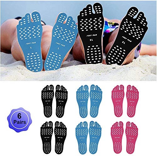 Beach Foot Pads Barefoot Adhesive Invisible Shoes Stick on Foot Pad Stickers Stick on Soles Anti-Slip Waterproof Silicone Unisex Footing Pad For Surfing Swimming 6 Pack Black Blue Rose 7-9.5 Size