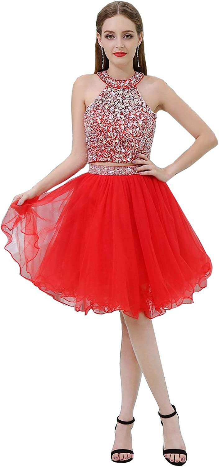 Wishopping Women's Short Halter Prom Gown Homecoming Dress WL67