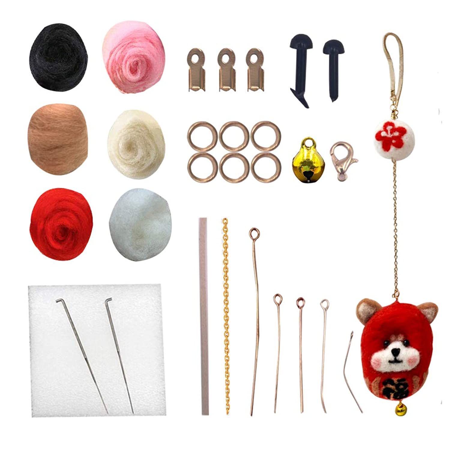 ?Barbee?Needle Felting Wool Felt Tools Set - DIY Handmade Craft Supplies Decorations Ornaments Basic Starter Kits with Instruction for Beginners (Blessing Shiba Inu)