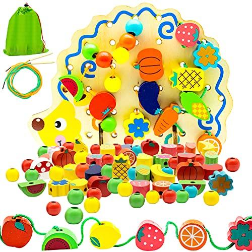 Herefun Perlen Fädelspiel, 82 Stück Holzperlen zum Auffädeln, Holz Spielzeug Motorikspielzeug, Fädelspiel Igel inklusive Obst Perlen Gemüse Perlen, Montessori Holzspielzeug für Jungen und Mädchen