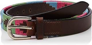 Cwell Equine 皮革手工制作紧身马球腰带 - 刺绣/缝合细节腰带粉色/绿松石色/绿色棕色皮革