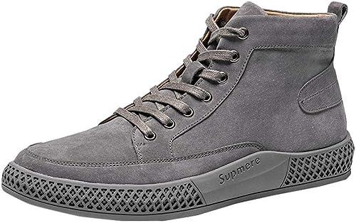 WLFHM Herrenschuhe Casual Gaobang Herrenschuhe Winterhohe Schuhe Koreanische Version Der Britischen Version Vielseitige Schuhe Retro-Schuhe