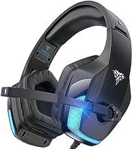 هدست مخصوص بازی BENGOO V-4 برای Xbox One ، PS4 ، PC ، کنترلر ، لغو سر و صدا از طریق هدفون گوش با میکروفون ، محافظ گوش حافظه نرم لامپ LED باس فراگیر برای لپ تاپ کامپیوتر نینتندو سوییچ کامپیوتر - مشکی